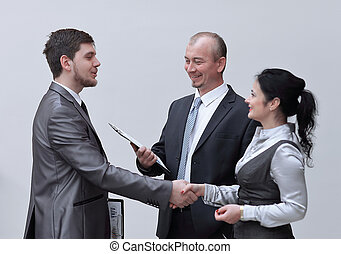 handshake business people in the office. concept of partnership