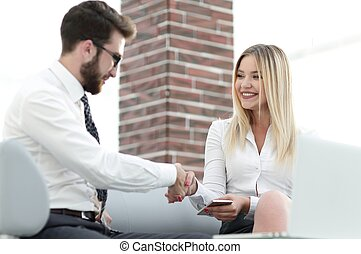 handshake business people in the office
