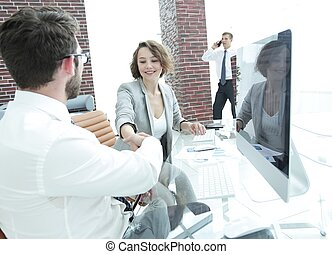 handshake, business woman and client - businessman and...