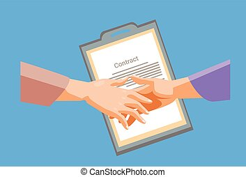 Handshake Businessman Contract Paper Document, Business Man Hands Shake
