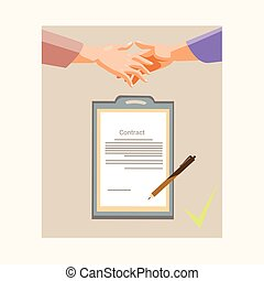 Handshake Businessman Contract Sign Up Paper Document, Business Man Hands Shake Pen Signature