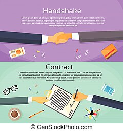Handshake Businessman Contract Sign Up Paper Document, Business Man Hands Shake Pen Signature Office Desk Web Banner