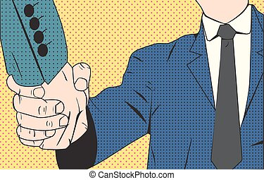 Handshake businessman retro style pop art