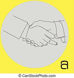 handshake businessman with showing middle finger - vector illustration outline sketch isolated on gray background