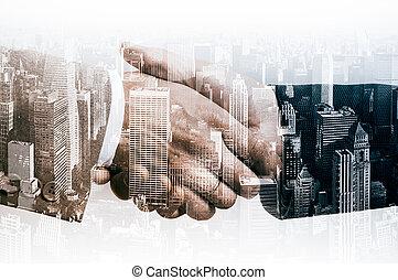 Handshake businessmen in the city background. Double exposure