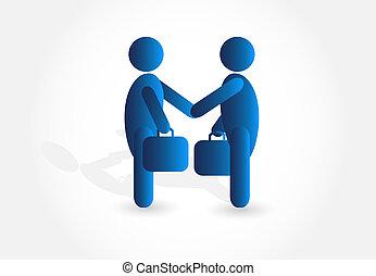 Handshake businessmen logo vector