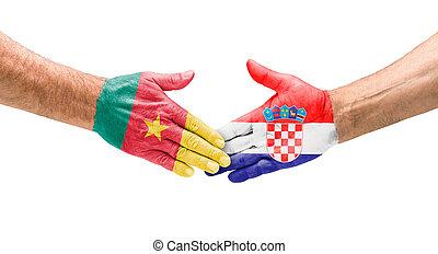 Handshake Cameroon and Croatia