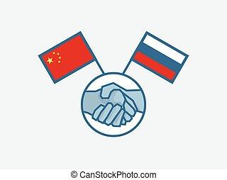 Handshake China and Russia Symbol