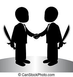 handshake - image of a back stabbing , betray