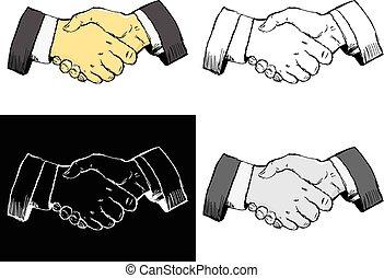 handshake - Editable vector illustrations in variations....