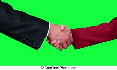Handshake closeup chroma key - Business men and women...