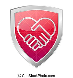 Handshake collaboration heart shape on a red shield with metal frame logo. Business agreement concept icon. Isolated vector illustration.