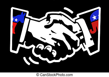 handshake democrat and republican - stencil drawing white on...