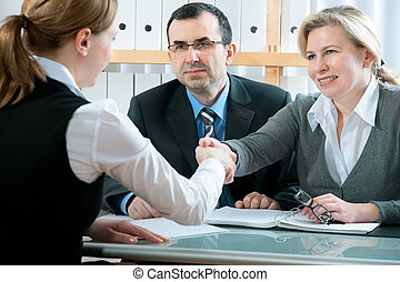 job interview - handshake during a  job interview