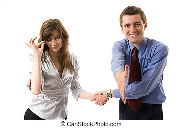 handshake., empresa / negocio, joven, mano, sonreír., ofertas, sacudida, hombre