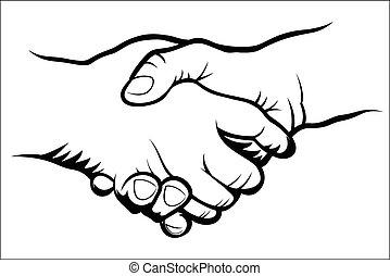 Handshake - Vector illustration : Handshake sketch on a...