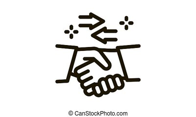 handshake exchange agreement Icon Animation. black handshake exchange agreement animated icon on white background