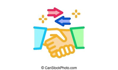 handshake exchange agreement Icon Animation. color handshake exchange agreement animated icon on white background
