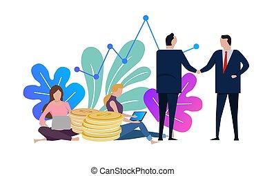 handshake., femme, affaire, business, complété, laptop., accord, fonctionnement, vecteur, hommes affaires, femme, secousse, hands., illustration.