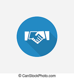 Handshake Flat Blue Simple Icon with long shadow