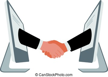 handshake from computer, business partnership vector illustration