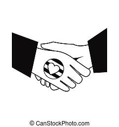 Handshake gay rainbow black simple icon