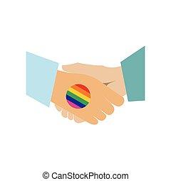 Handshake gay rainbow flat icon
