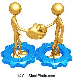 Handshake Gears - 3D Concept And Presentation Figure