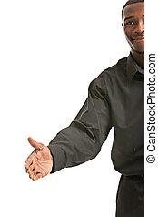 Handshake gesture from Black Businessman