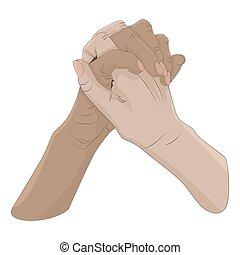 Handshake gesture isolated on white background.