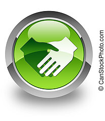 Handshake glossy icon - handshake icon on glossy green round...