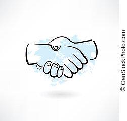 handshake grunge icon