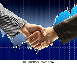 Handshake - Hand holding on dark b