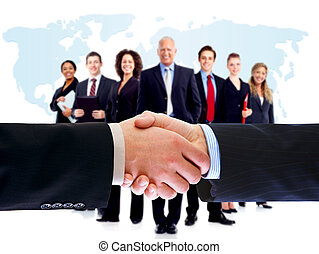 handshake., handlowy zaludniają