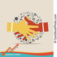 Handshake, Hands with application. Vector illustration.