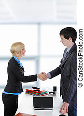 handshake happy business partners
