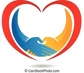 Handshake with heart representing business, community, medical, concepts, union, and success vector icon logo design