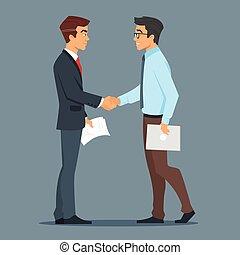 handshake., homme affaires, bon, deal., deux