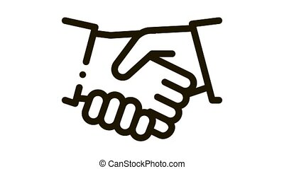 Handshake Icon Animation. black Handshake animated icon on white background