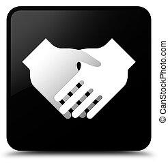 Handshake icon black square button