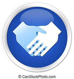 Handshake icon blue glossy round button