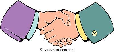 Handshake icon cartoon