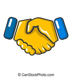 Handshake icon, cartoon style
