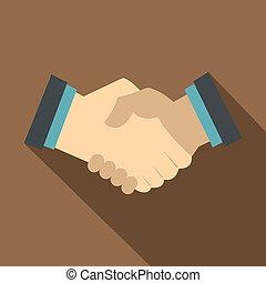 Handshake, icon, flat style