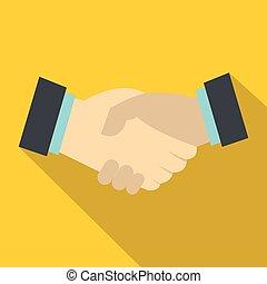 Handshake icon, flat style