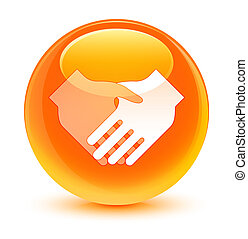 Handshake icon glassy orange round button