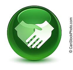 Handshake icon glassy soft green round button