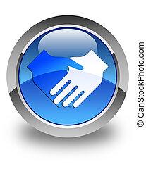Handshake icon glossy blue round button