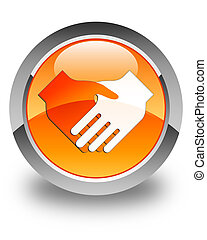 Handshake icon glossy orange round button