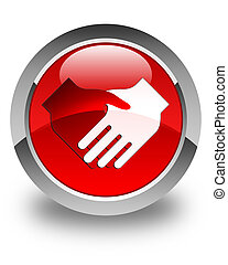 Handshake icon glossy red round button
